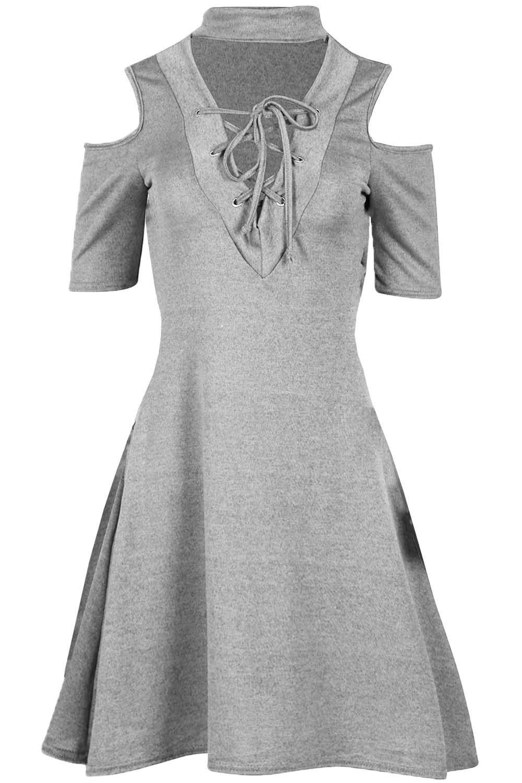 Mini Vestido señoras para mujer hombro frío Gargantilla Cuello en V Ojal Cordones Swing de punto