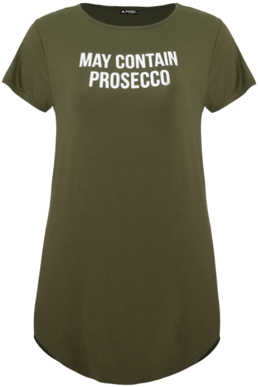 Plus Size Ladies Womens Short Sleeve CONTAINS PROSECCO Curved Hem T Shirt Dress