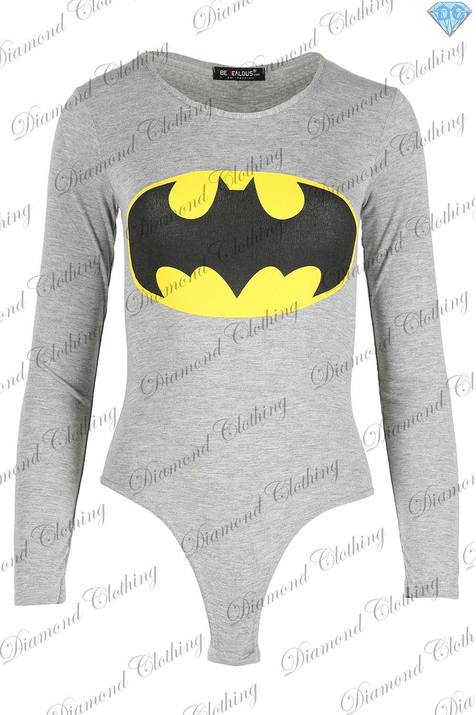 Womens-Celeb-Inspired-Bodysuit-Ladies-Batman-Superman-Stretch-Leotard-TShirt-Top
