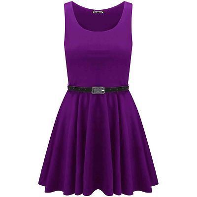 New-Womens-Ladies-Belted-Sleeveless-Franki-Flared-Party-Swing-Skater-Dress-Top thumbnail 12