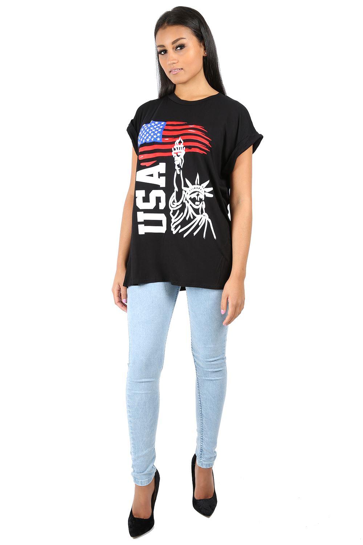 Womens turnup sleeve baggy t shirt ladies love usa print for T shirt printing usa