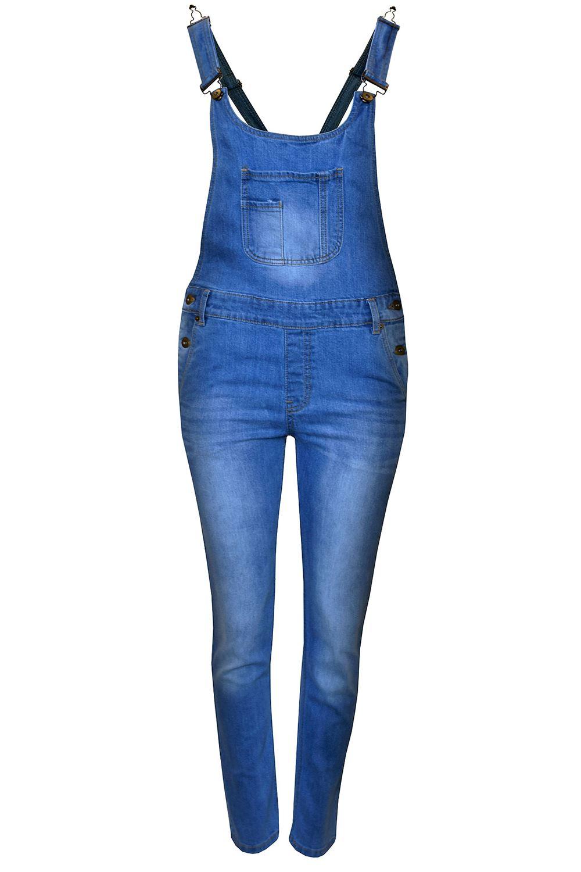 Womens Ladies Celeb Denim Jeans Full Length Pinafore ... - photo#9