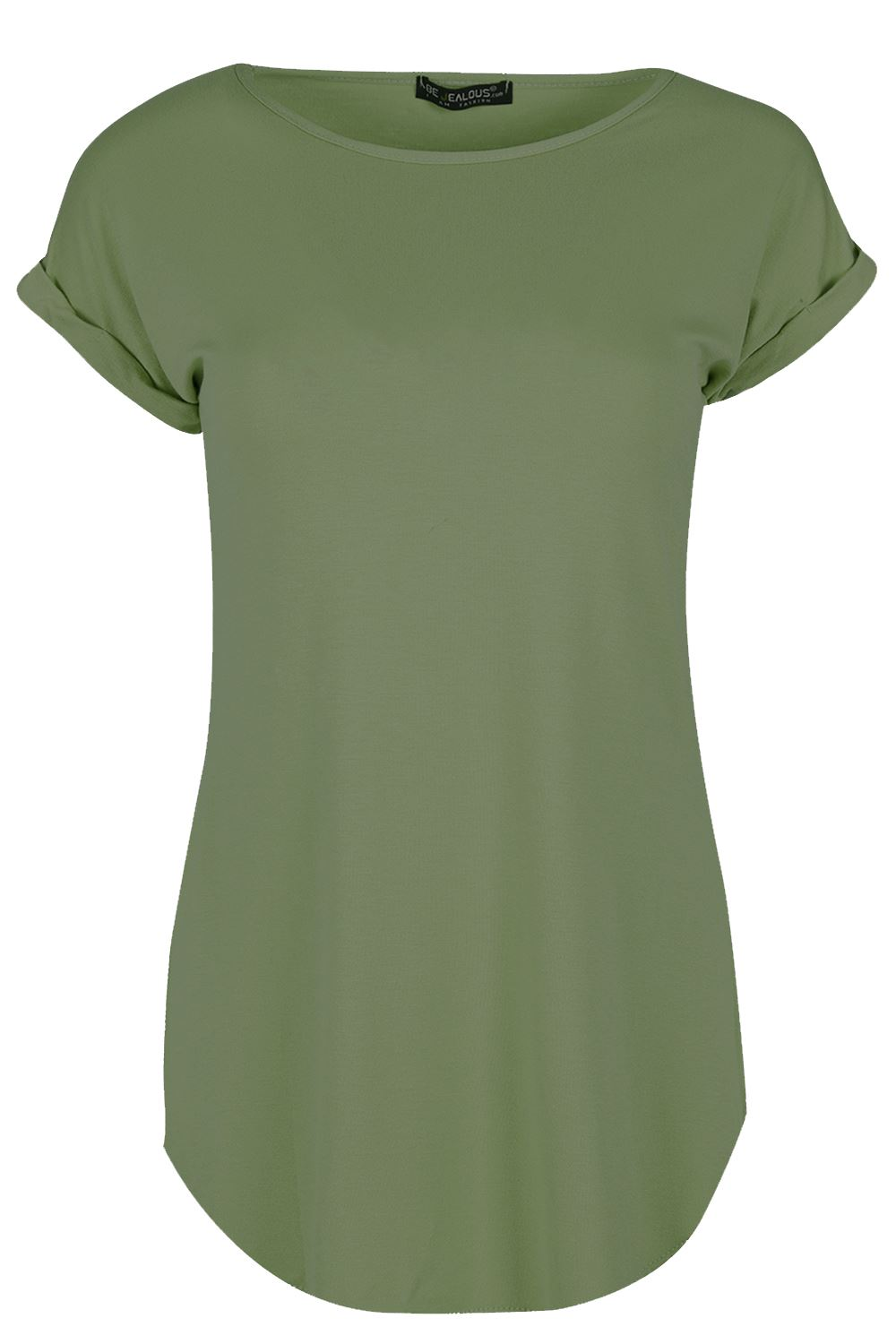 Womens curved hem jersey plain top ladies round neck turn for Round neck t shirts for ladies