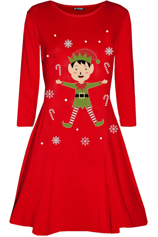 Womens-Ladies-Candystick-Elf-Long-Sleeve-Christmas-Xmas-Flared-Swing-Mini-Dress thumbnail 7