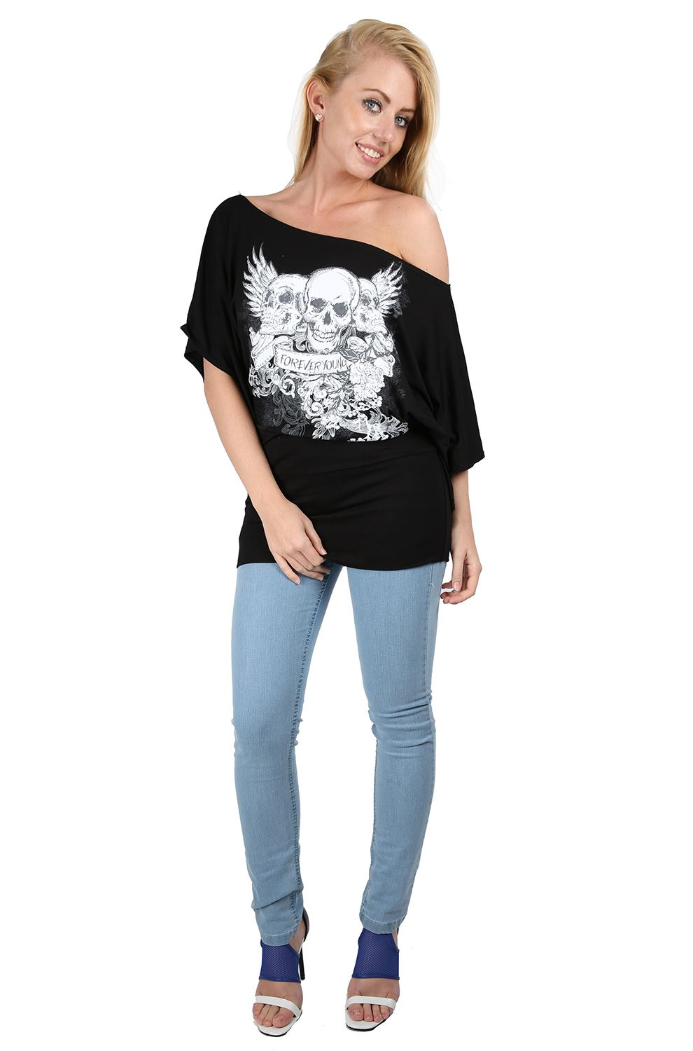 Womens Ladies Off One Shoulder Skull Bardot Batwing Sleeve T Shirt ...