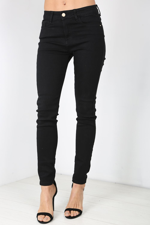 damen skinny enge passform denim dehnbar knopf damen stift jeans hose ebay. Black Bedroom Furniture Sets. Home Design Ideas