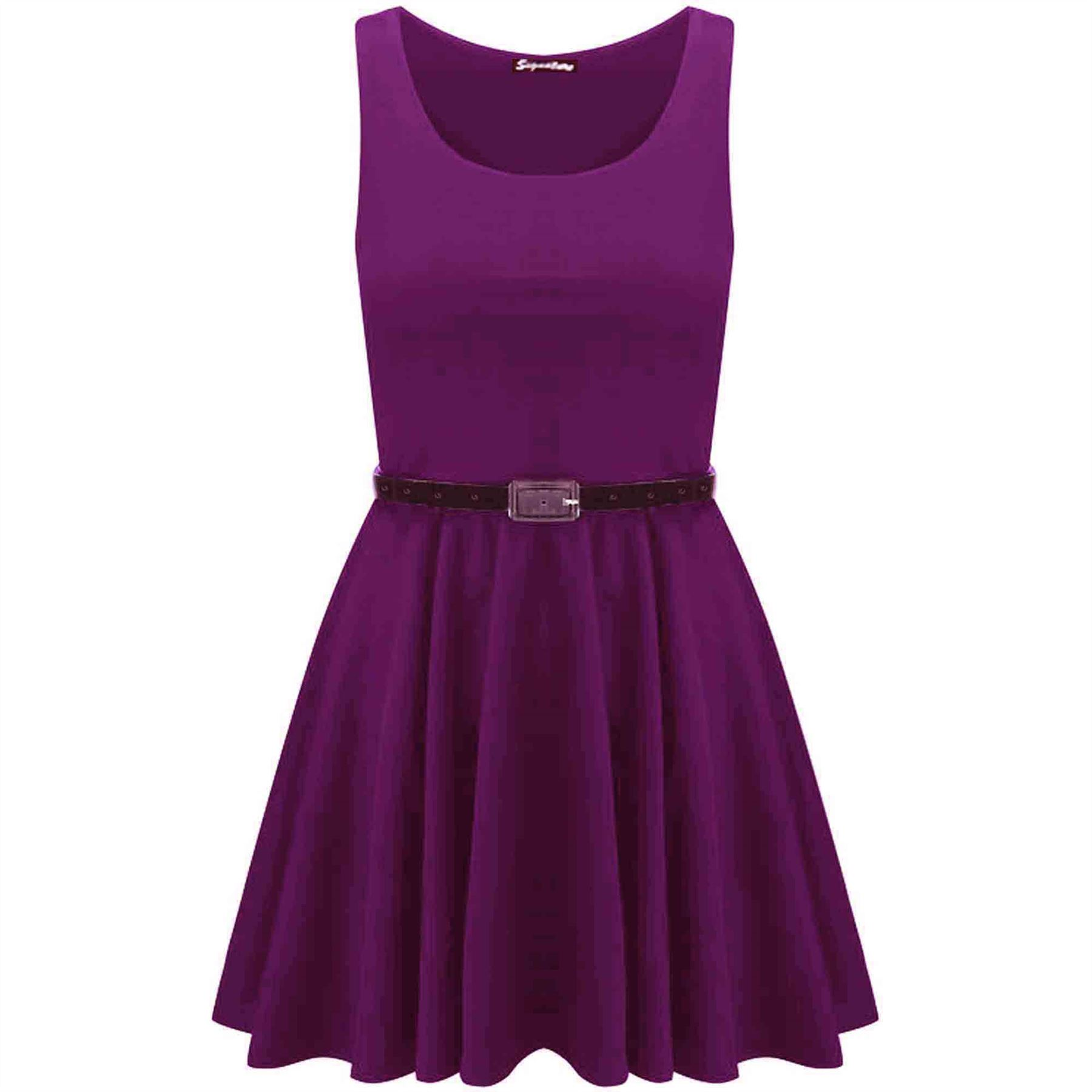 New-Womens-Ladies-Belted-Sleeveless-Franki-Flared-Party-Swing-Skater-Dress-Top thumbnail 28