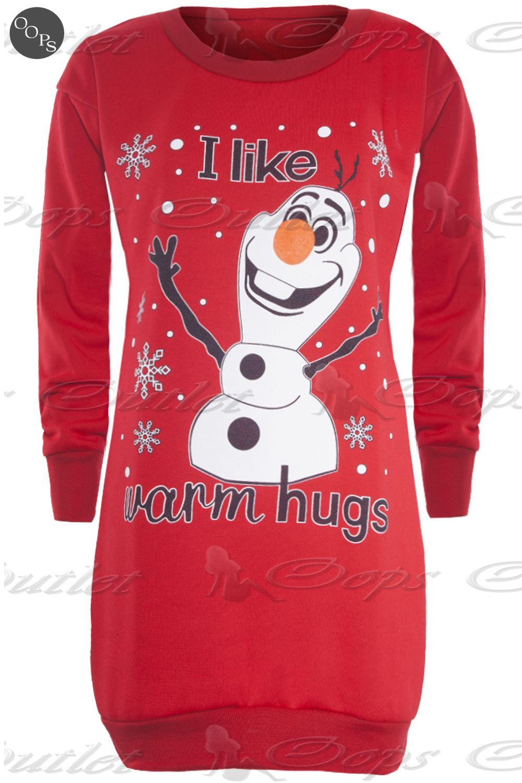 Ladies Women Xmas Baggy Long Dress Minion Christmas Frozen Olaf ...