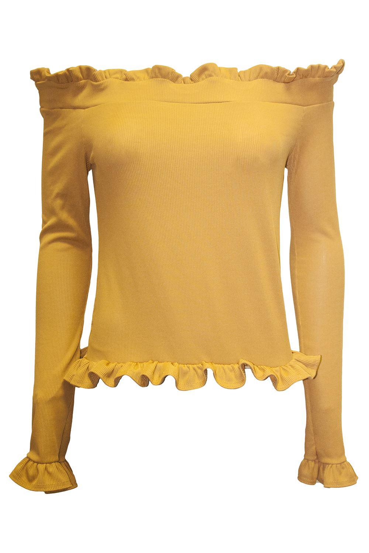 Womens-Ladies-Bardot-Off-Shoulder-Ruffle-Frill-Long-Sleeve-Ribbed-Stretchy-Top