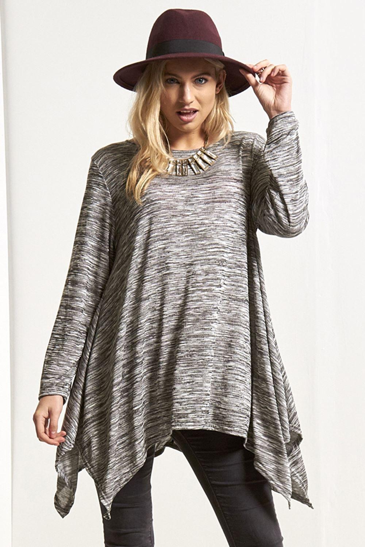 New Womens Knitted Long Sleeve Hanky Hem Oversized Scoop