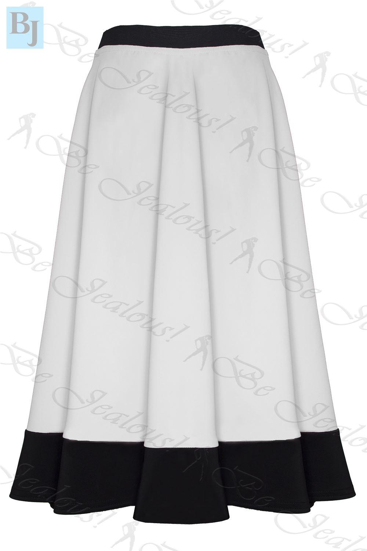 womens midi skirt mid length scuba stretch flared