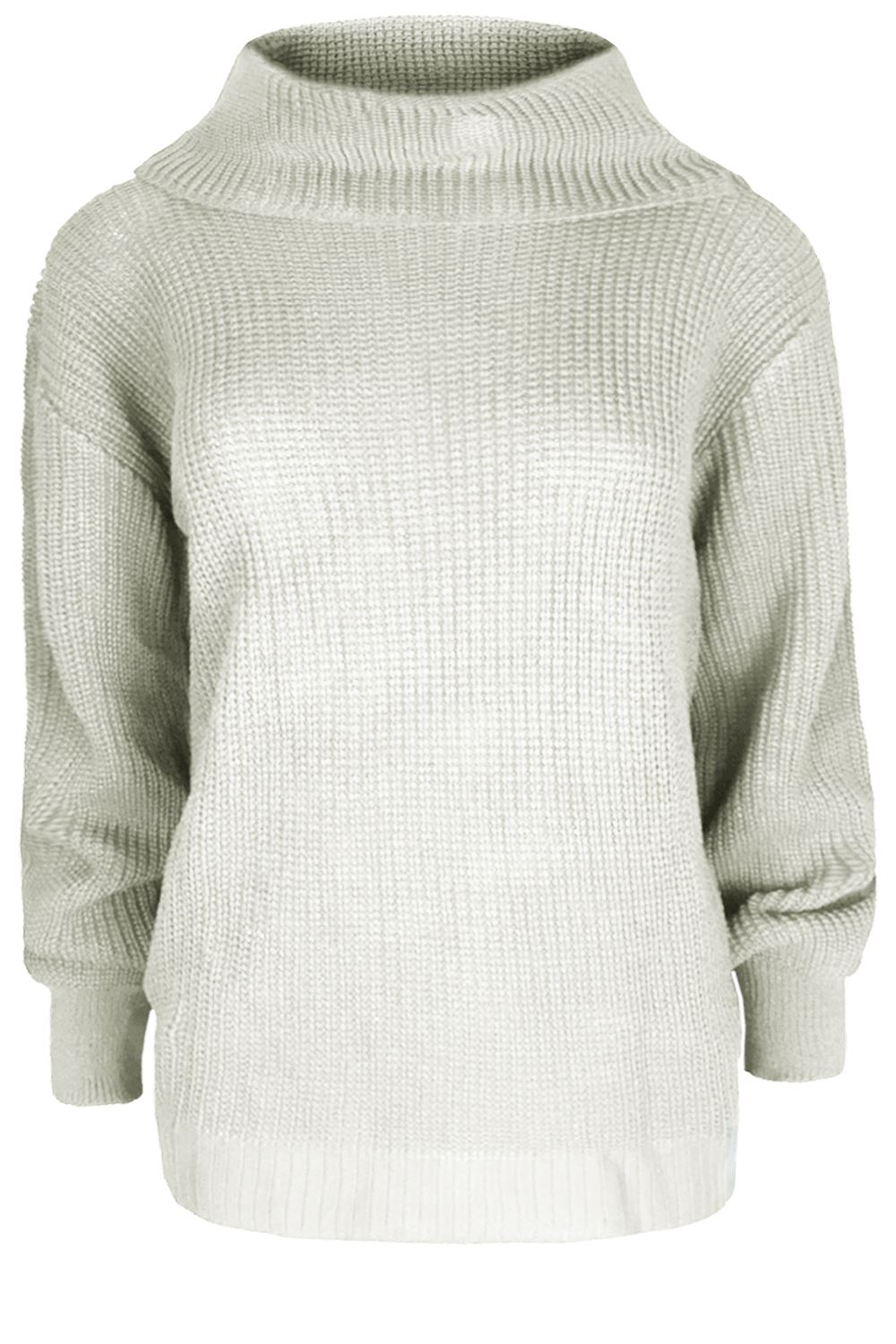 Ladies Womens Chunky Long Sleeve Knitted Oversized Cowl Roll Neck Jumper Top
