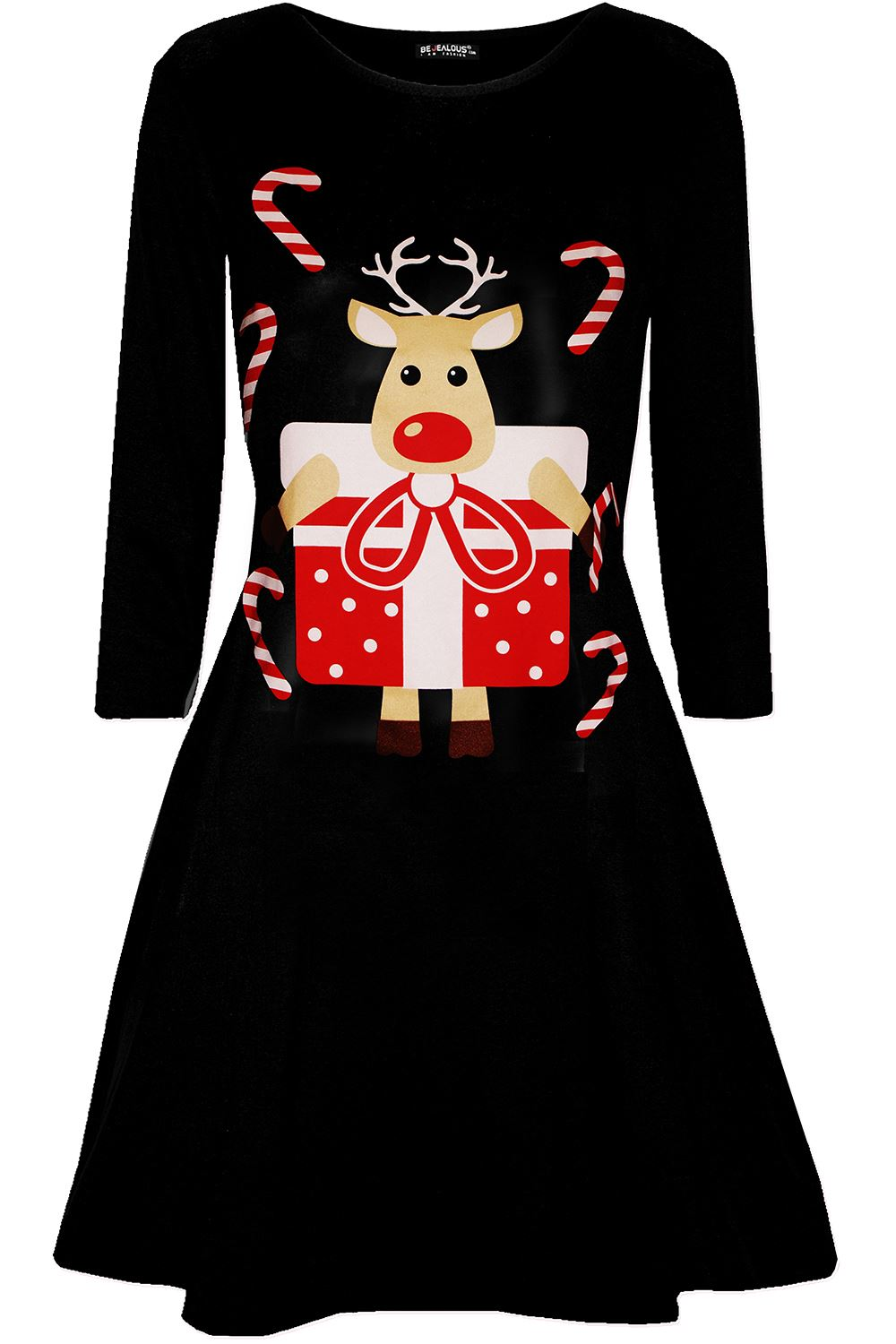 Womens-Ladies-Kids-Girls-Christmas-Xmas-Santa-Reindeer-Flared-Swing-Mini-Dress thumbnail 43
