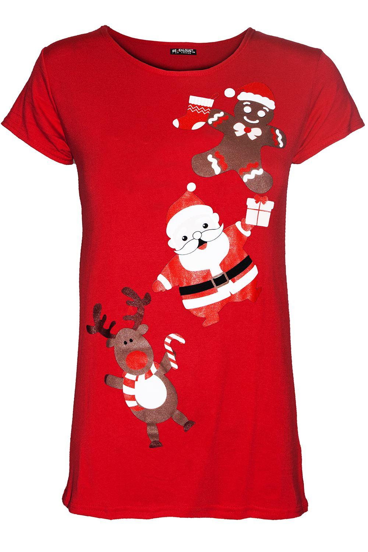 Kids Girls Children Reindeer Gingerbread Santa Christmas Cap Sleeve T Shirt Top