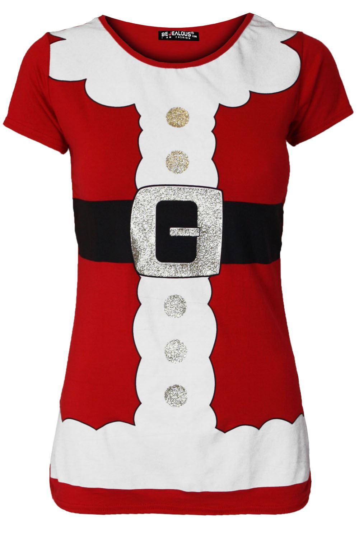 09491443 Ladies Christmas T Shirt Womens Tree Bells Reindeer Full Sleeve ...