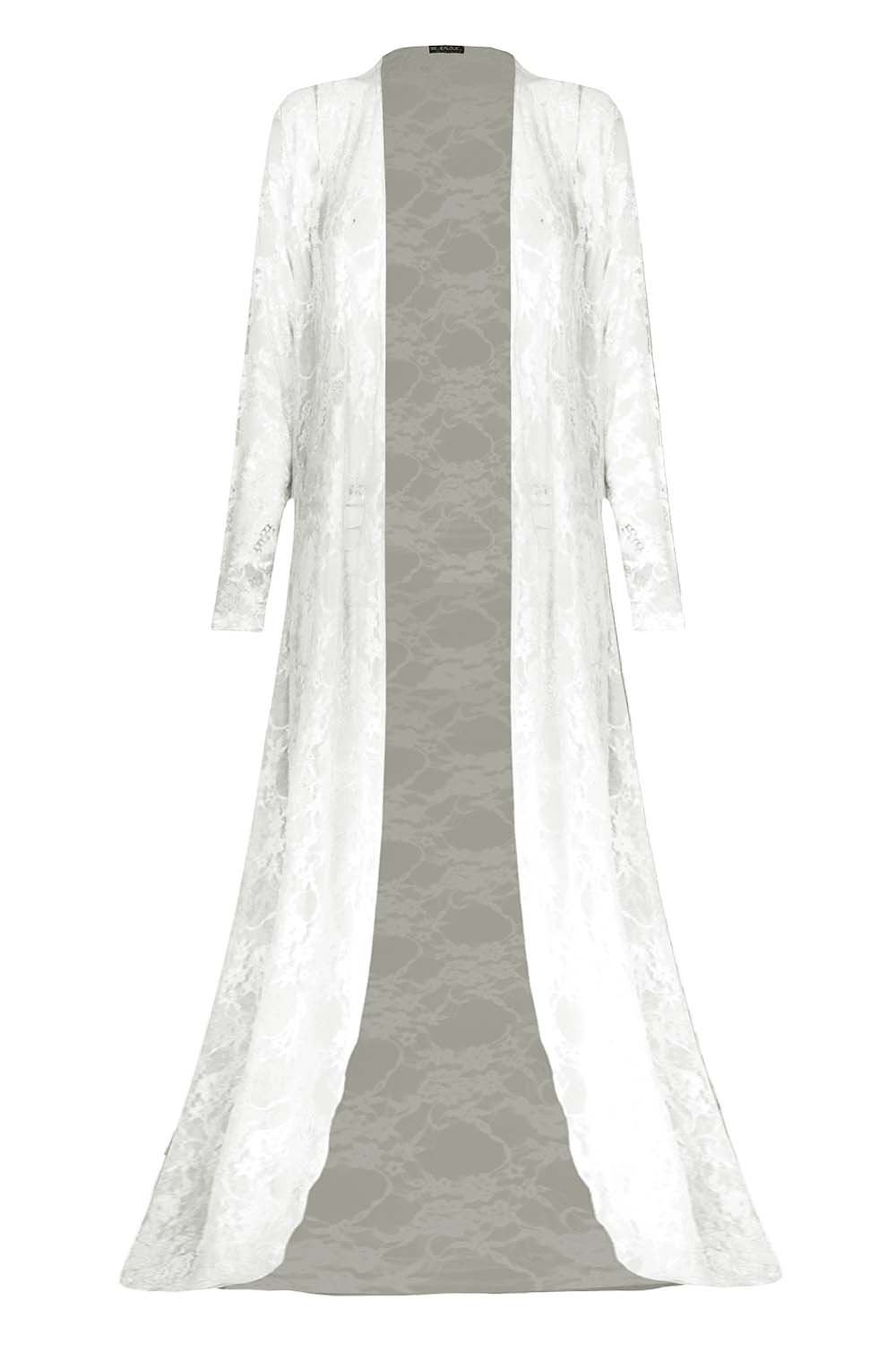Womens Floral Lace Front Open Maxi Long Sleeves Waterfall Floaty Maxi Cardigan