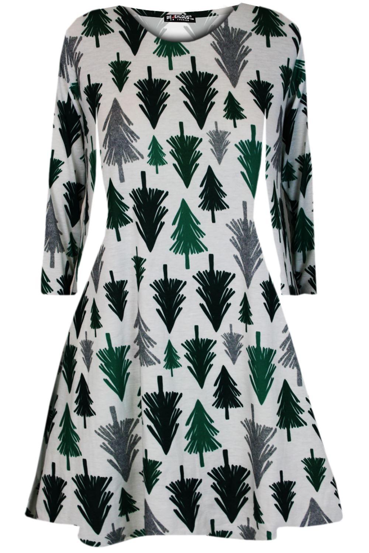 Womens-Xmas-Ladies-Santa-Snowman-Reindeer-Flare-Christmas-Smock-Swing-Mini-Dress thumbnail 23
