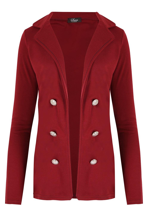 Womens Military Button Collared Open Blazer Ladies Long Sleeve Waistcoat Jacket