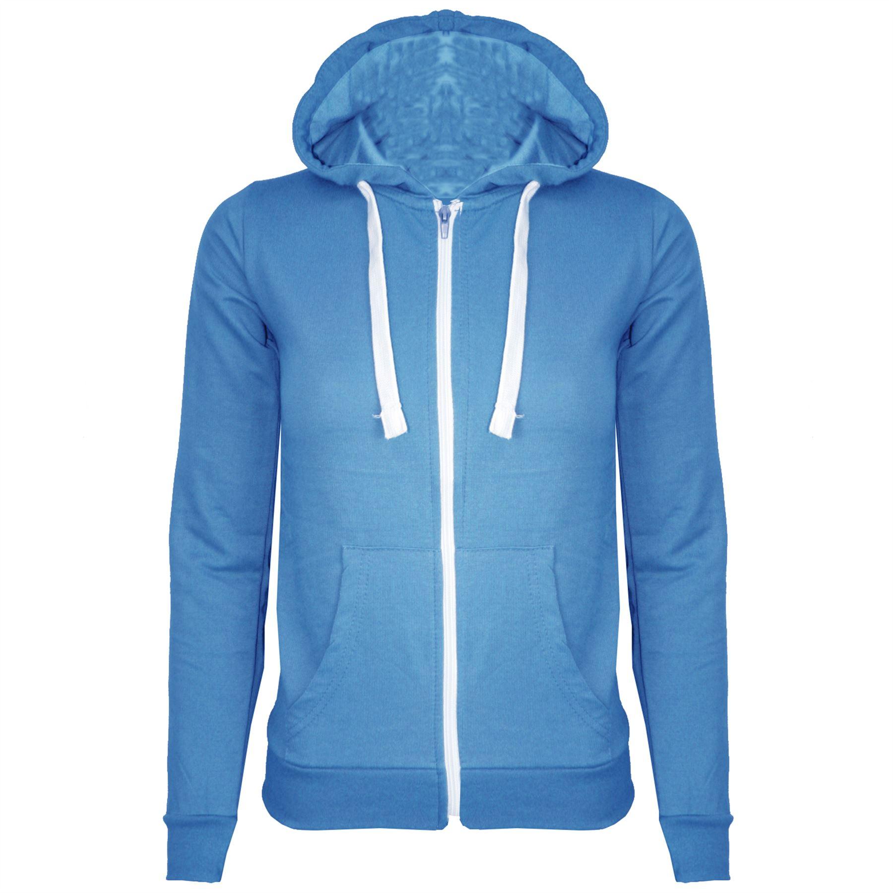 New Womens Ladies Hoodie Plain Zip Up Hooded Top Jacket Size S M L XL 8 10 12 14