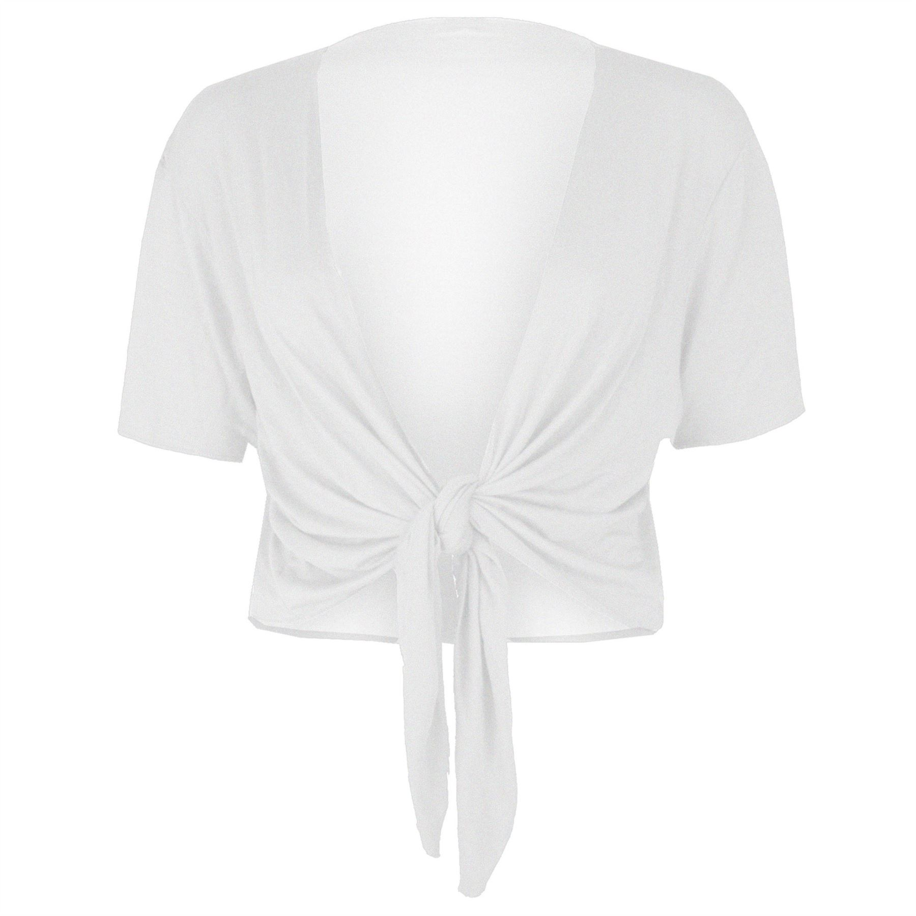 Women's Ladies Cap Sleeve Plain Bolero Shrug Top Cardigan
