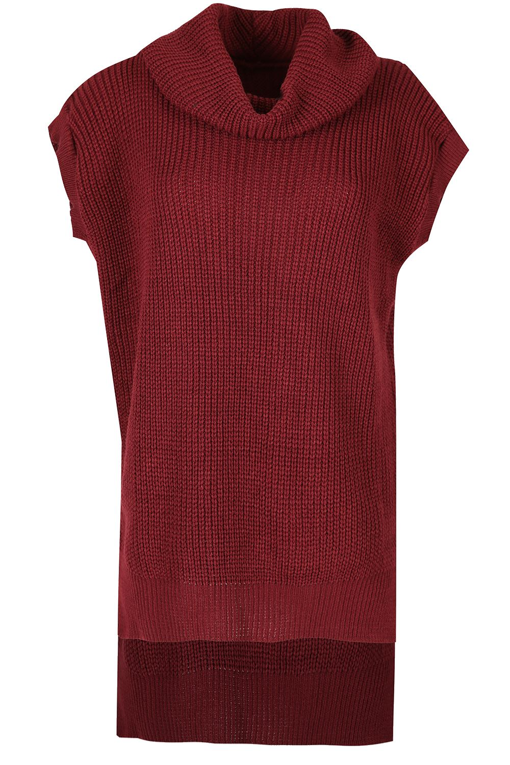 Womens-Ladies-Cowl-Neck-Sleeveless-High-Low-Chunky-Knit-Baggy-Oversize-Jumper