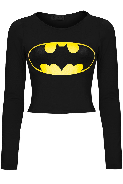 womens ladies superman batman cap long sleeves t shirt. Black Bedroom Furniture Sets. Home Design Ideas