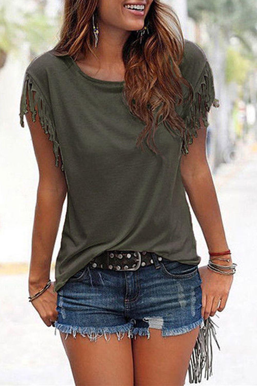 Ladies-Womens-Short-Sleeve-Fringe-Loose-Summer-Top-Casual-Blouse-T-Shirt-Tops-UK thumbnail 4