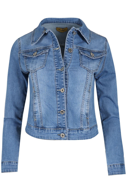 Womens-Ladies-Pockets-Slim-Denim-Jean-Buttons-Down-Coat-Crop-Jacket-Top-Outwear 縮圖 3