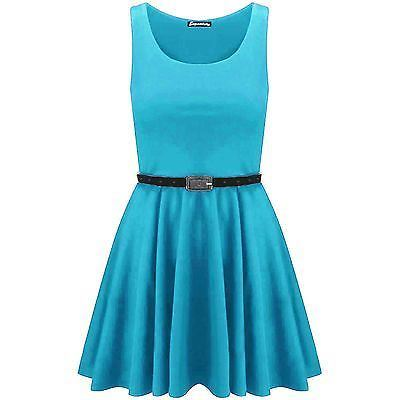 New-Womens-Ladies-Belted-Sleeveless-Franki-Flared-Party-Swing-Skater-Dress-Top thumbnail 13