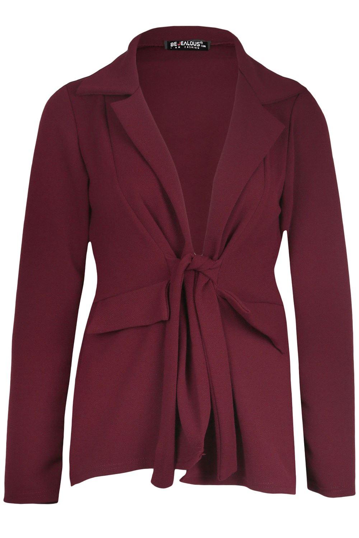 Ladies-Womens-Tie-Belted-Front-Pockets-Full-Sleeve-Cardigan-Coat-Jacket-Blazer