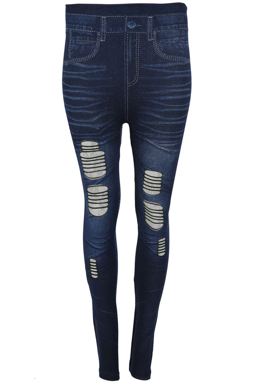 Womens Ladies Denim Jeans Knee Cut Ripped Contrast Lace Skinny Leggings Jeggings
