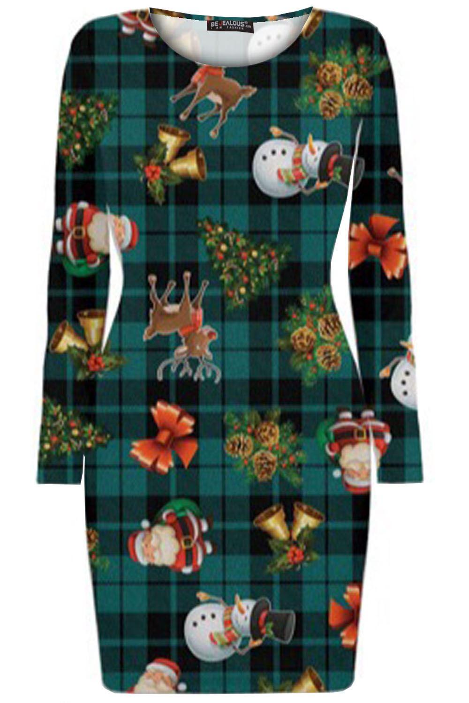 Mini vestido nuevo Para mujeres Damas Navidad Impreso Cuello Redondo Navidad con Vendaje BodyCon