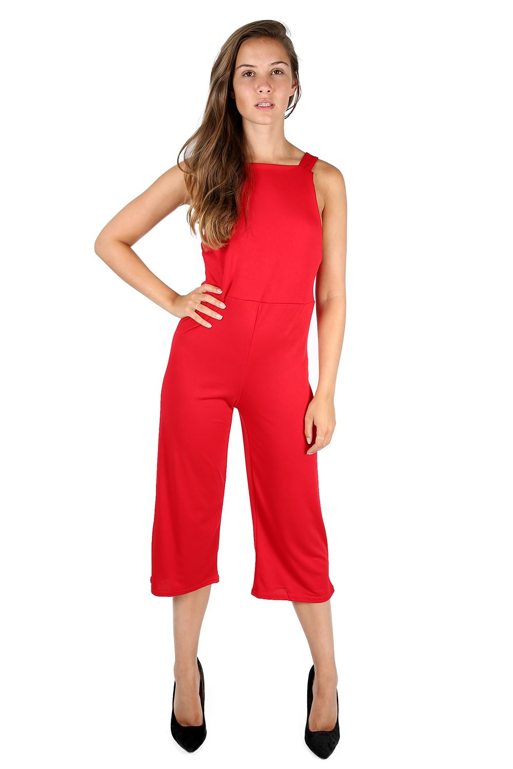 f767765ef9a Womens Ladies 3 4 Length All In One Dungaree Wide Leg Palazzo ...