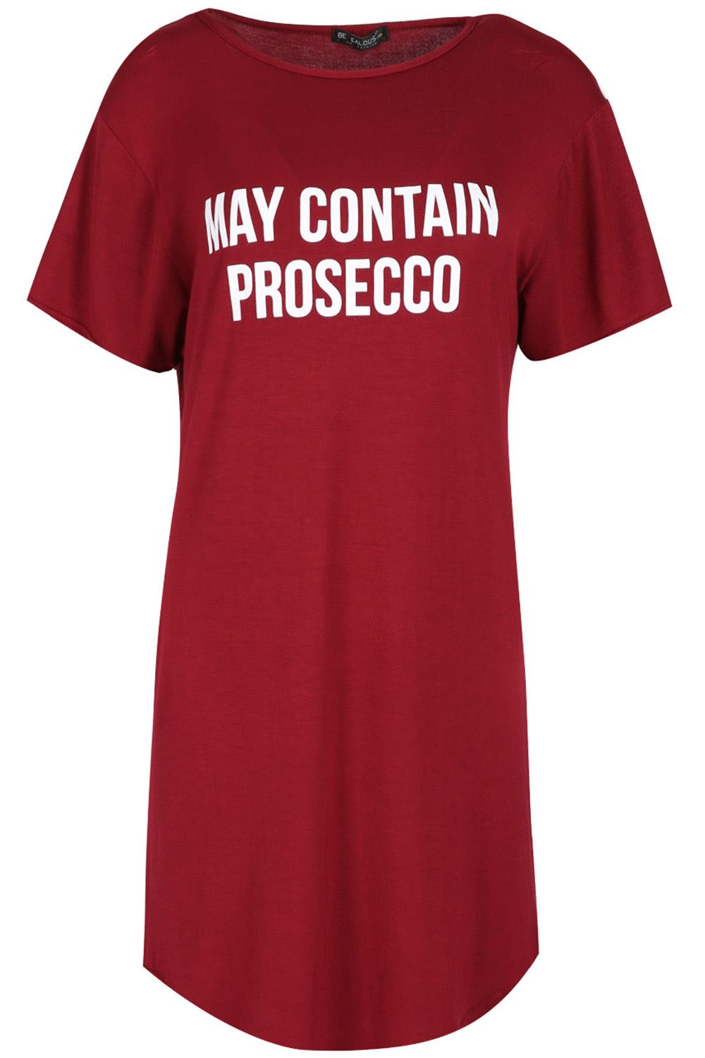Ladies-Womens-Short-Sleeve-CONTAINS-PROSECCO-Longline-Curved-Hem-T-Shirt-Dress