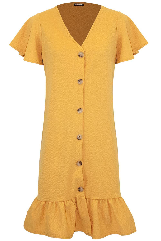Womens-Ladies-6-Button-Frill-Hem-V-Plunge-Short-Sleeve-Stretchy-Midi-Shirt-Dress thumbnail 6