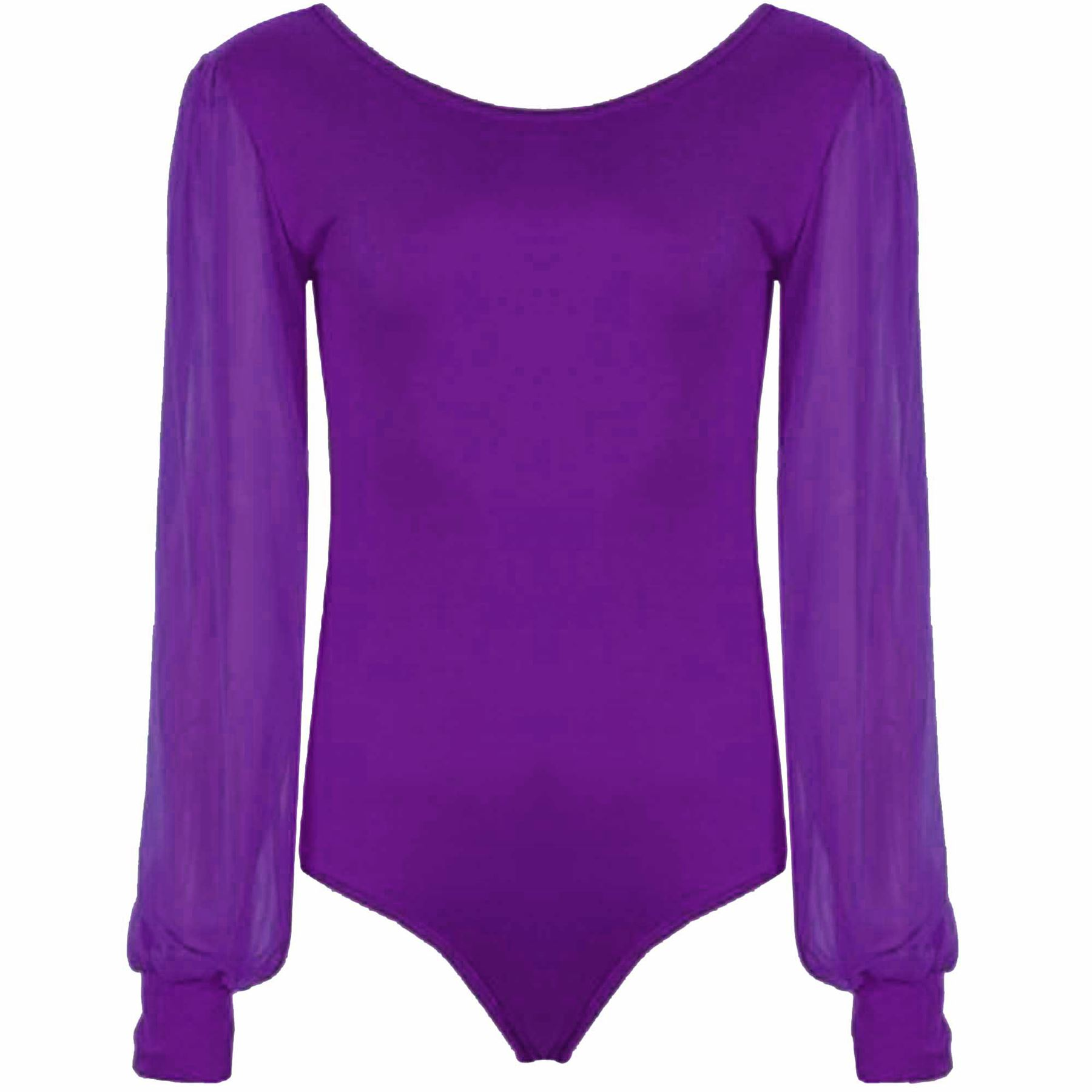womens-Bodysuit-Chiffon-Sleeve-Leotard-Scoop-Neck-Long-Ladies-Sleeve-Size-8-22 thumbnail 6