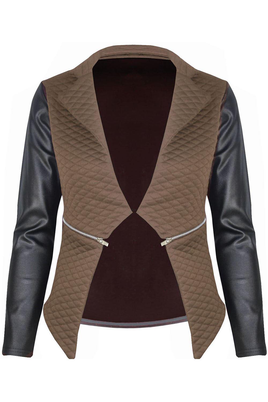 New-Womens-Ladies-Quilted-PVC-Long-Sleeves-Zip-Blazer-Top-Waterfall-Jacket-Coat thumbnail 10