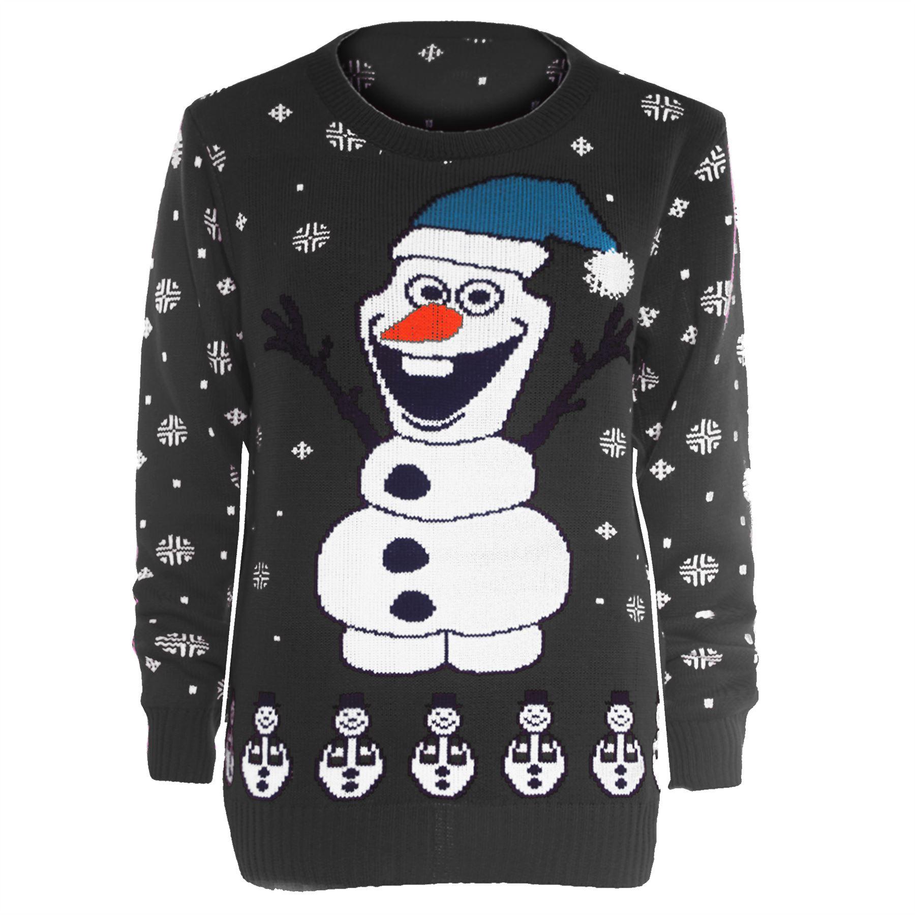 Womens Novelty Rudolf Olaf Ladies Frozen Knit Christmas Sweater ...