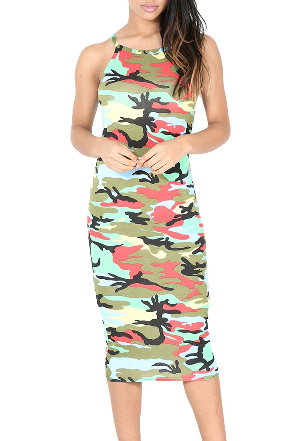 Womens Midi Dress Ladies Print High Neck Fitted Cami Thin ...