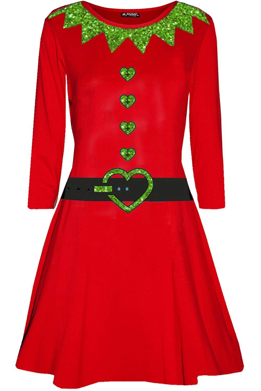 Womens-Ladies-Christmas-Xmas-Santa-Face-Gifts-Reindeer-Flared-Swing-Mini-Dress thumbnail 37