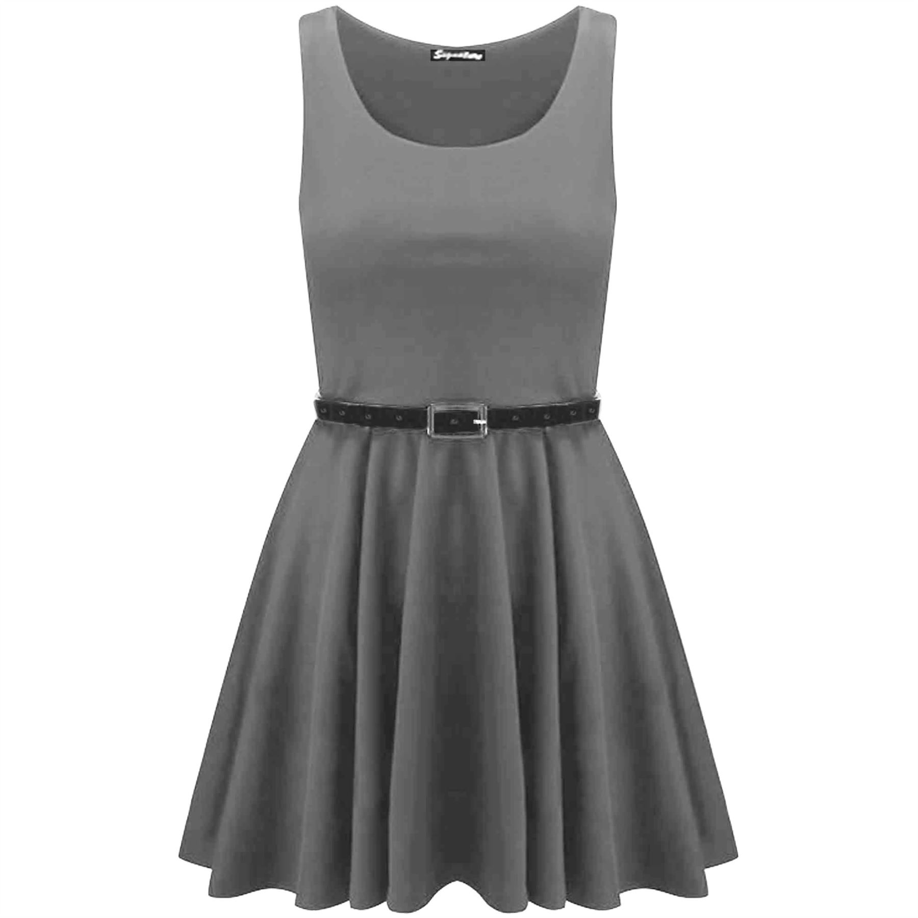 New-Womens-Ladies-Belted-Sleeveless-Franki-Flared-Party-Swing-Skater-Dress-Top thumbnail 27