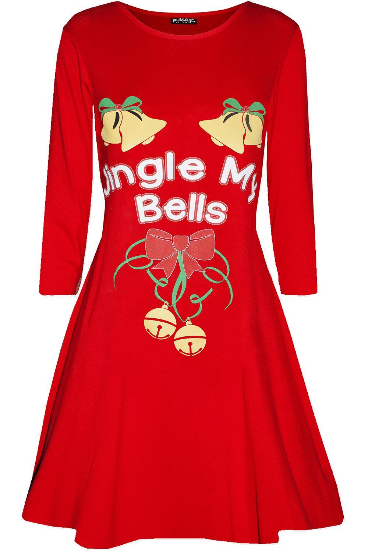 Womens-Christmas-Long-Sleeve-Santa-Reindeer-Gingerbread-Ladies-Swing-Mini-Dress thumbnail 37
