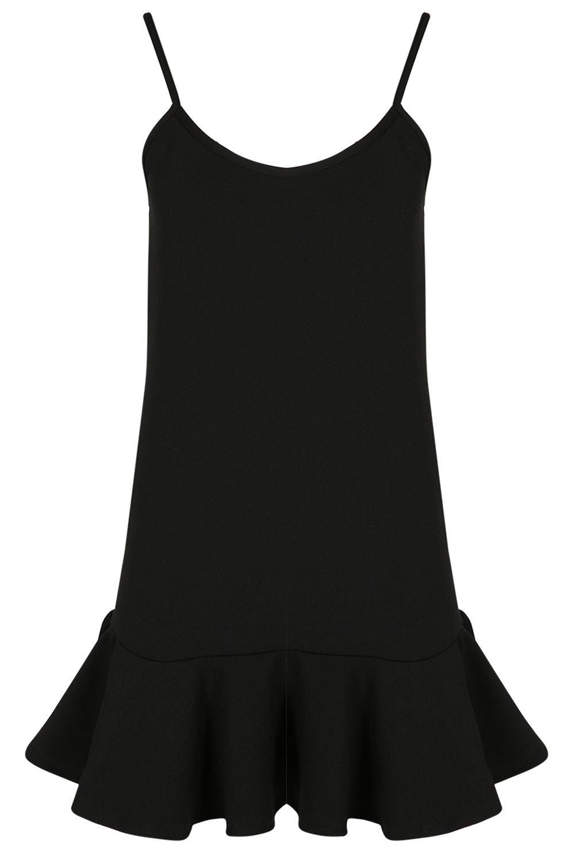 Womens-Plain-Cami-Strappy-Peplum-Frill-Hem-Ladies-Vest-Flared-Swing-Mini-Dress thumbnail 2