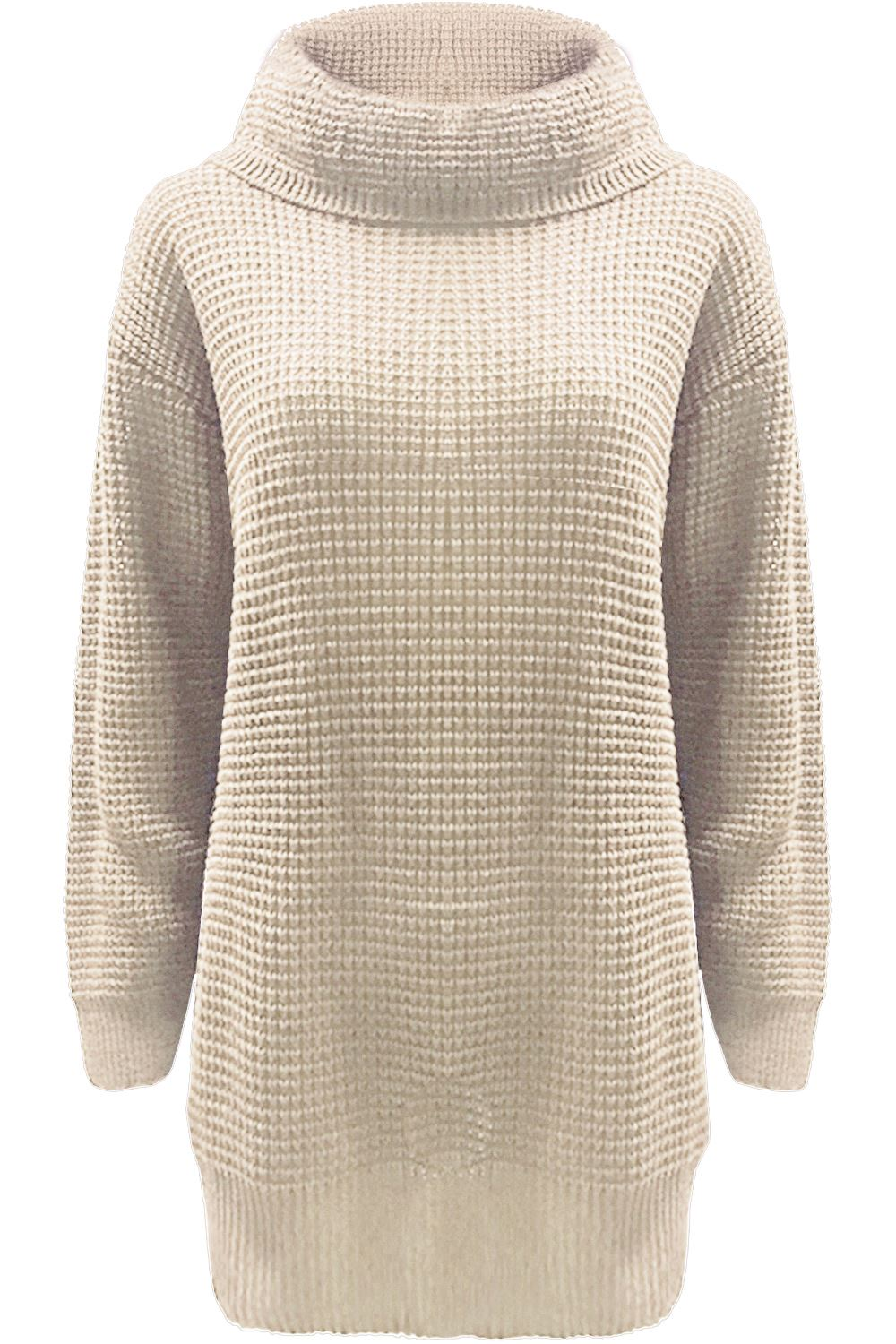 a4147d4bd New Womens Chunky Knitted Full Sleeve High Polo Neck Oversized Mini ...