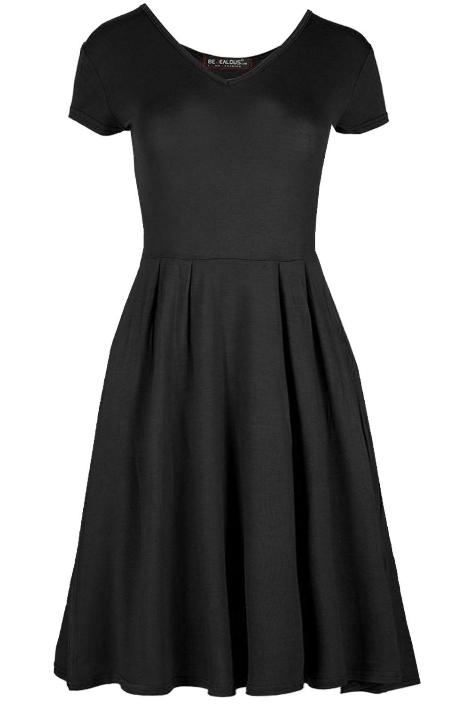 Womens Cap Sleeve Flared  Skater Dress Ladies Party Franki V Neck Shift Dress