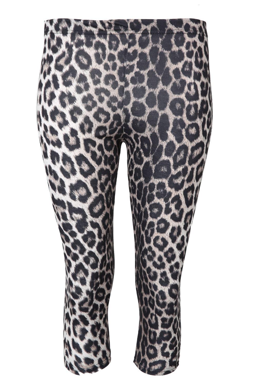 Women Printed 3/4 Length Leggings Ladies Stretchy Waist ...