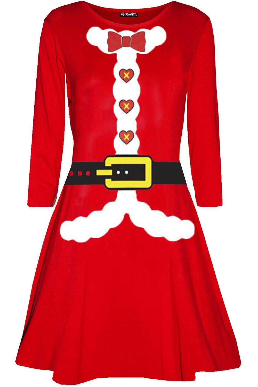 Womens-Ladies-Christmas-Xmas-Santa-Face-Gifts-Reindeer-Flared-Swing-Mini-Dress thumbnail 40