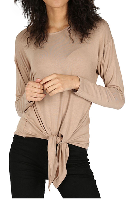 Womens baggy t shirt ladies plain front tie top viscose for Best t shirt women