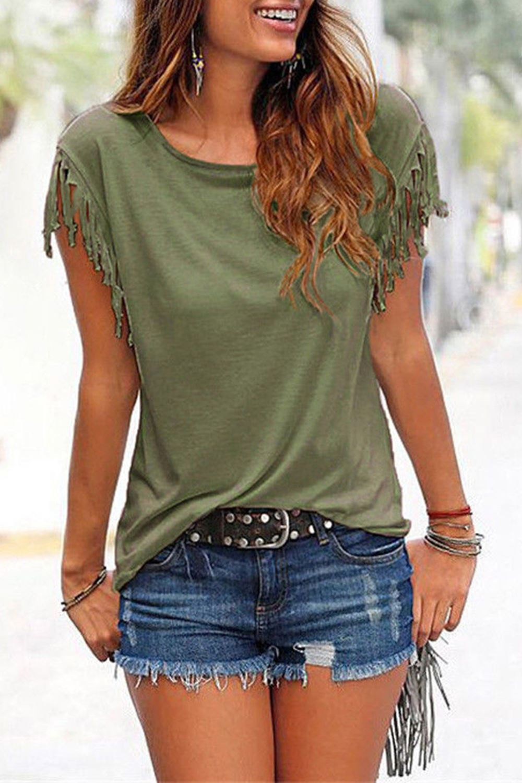 Ladies-Womens-Short-Sleeve-Fringe-Loose-Summer-Top-Casual-Blouse-T-Shirt-Tops-UK thumbnail 6