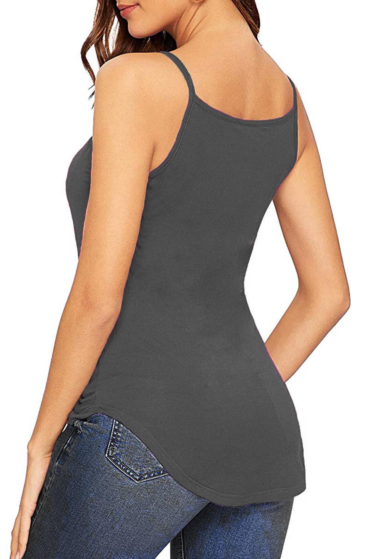 Senoras-para-mujer-normal-Camisola-Con-Correas-Sin-Mangas-Dobladillo-Curvo-Tanque-camiseta-Chaleco miniatura 10